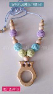 Emanuela - Collana da allattamento con gufo in legno