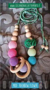 Collana da allattamento con anelli in legno